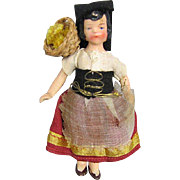 All Bisque Doll House Doll Germany Original Costume