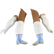 China Doll Limbs Arms Legs Matched Set 1890 Blue Boots