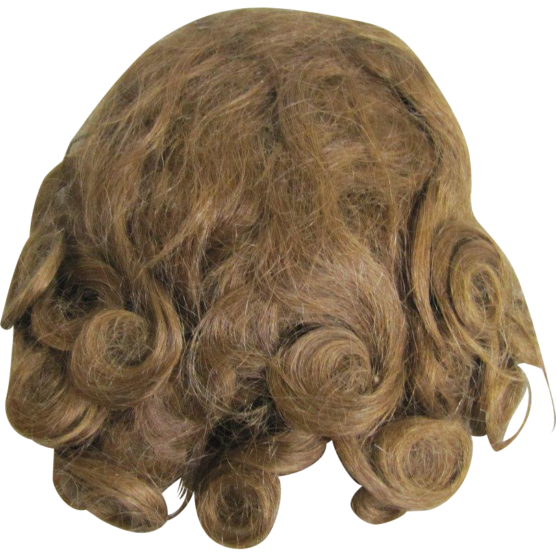 Antique Human Hair Doll Wig Brunette Excellent Condition