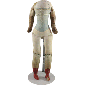 Antique Doll Body German Factory Leather Arms Blue Corset Red Boots