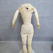 """c1860 Antique Cloth Doll Body 14"""" for China Head"""