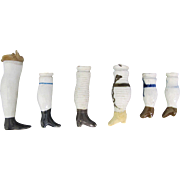 Antique China Doll Legs One Pair plus 4 Singles