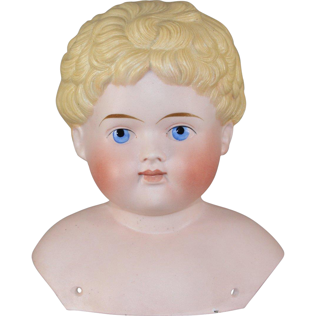 German Bisque Molded Hair Child Doll Unusual Hairstyle