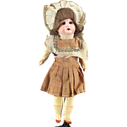German Bisque Child Doll Great Costume Wig All Original