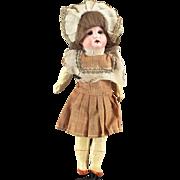 German Bisque Child Doll Great Costume Wig All Original