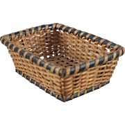 Antique Miniature Woven Basket Doll Size 4 Inches Long