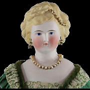 Antique Parian Lady Doll Elaborate Beaded Hair Pierced Ears