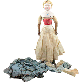 German Bisque Dolley Madison c1860 Lady Doll Gorgeous