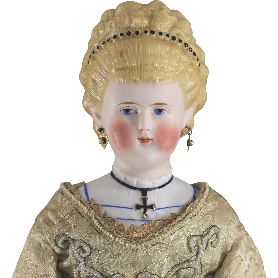 "German Parian Doll ""Empress Augusta Victoria"" Iron Cross Lady"