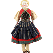 German Bisque Doll All Original Complete Ethnic Costume Cabinet Size