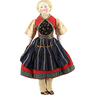 German Bisque Doll Original Complete Ethnic Costume Cabinet Size