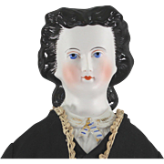 Parian Type Empress Eugenia Unusual BLACK Glazed Hair