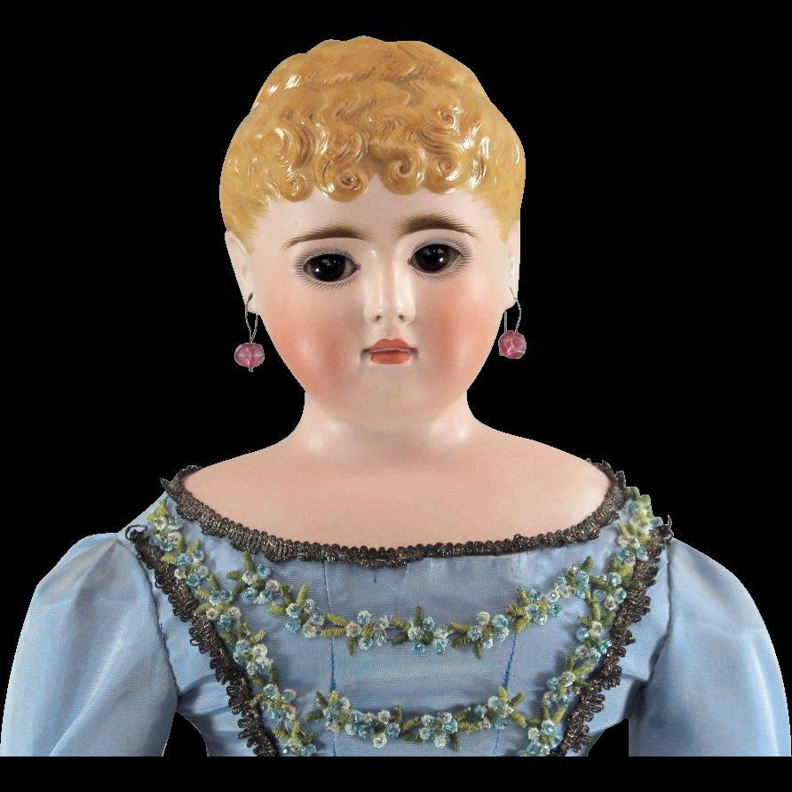 German Bisque Lady Glass Eyes Pierced Ears Elaborate Hairstyle