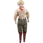 German Bisque Boy Doll Damaged Head Gorgeous Body and Costume