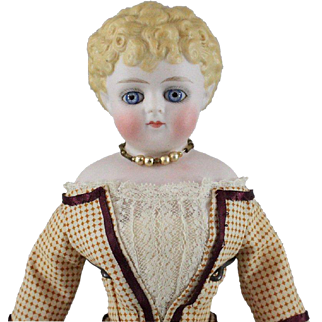 Parian Type German Bisque Glass Eyes Molded Hair Original Body Cabinet Size Girl