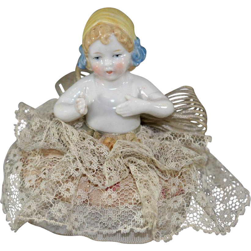 Pincushion Half Doll Molded Bonnet Arms Away Original Cushion