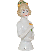 German Half Doll  Flowers in Hair and Holding Flower