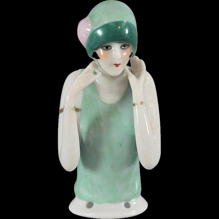 German Half Doll Flapper Cloche Hat Bracelets Ring Earrings Arms Away