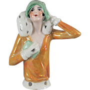 German Half Doll Flapper Ermine Coat Cloche Hat Gloves Purse