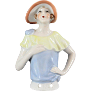German Half Doll Flapper with Flapper Hat 4 Inches Tall