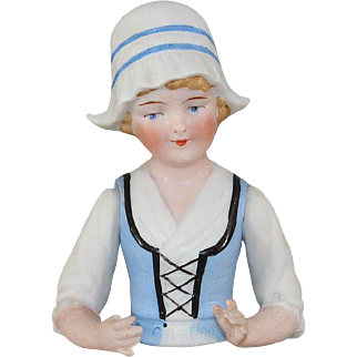 Antique Jointed Half Doll German Bisque Arms Away