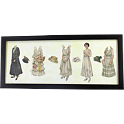 Paper Dolls Framed circa 1920 Seven Inch Doll Four Costumes with Hats