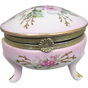 Hand Painted Porcelain Trinket Box Footed Hinged Lid