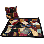 Antique Doll Size Crazy Quilt and Pillow