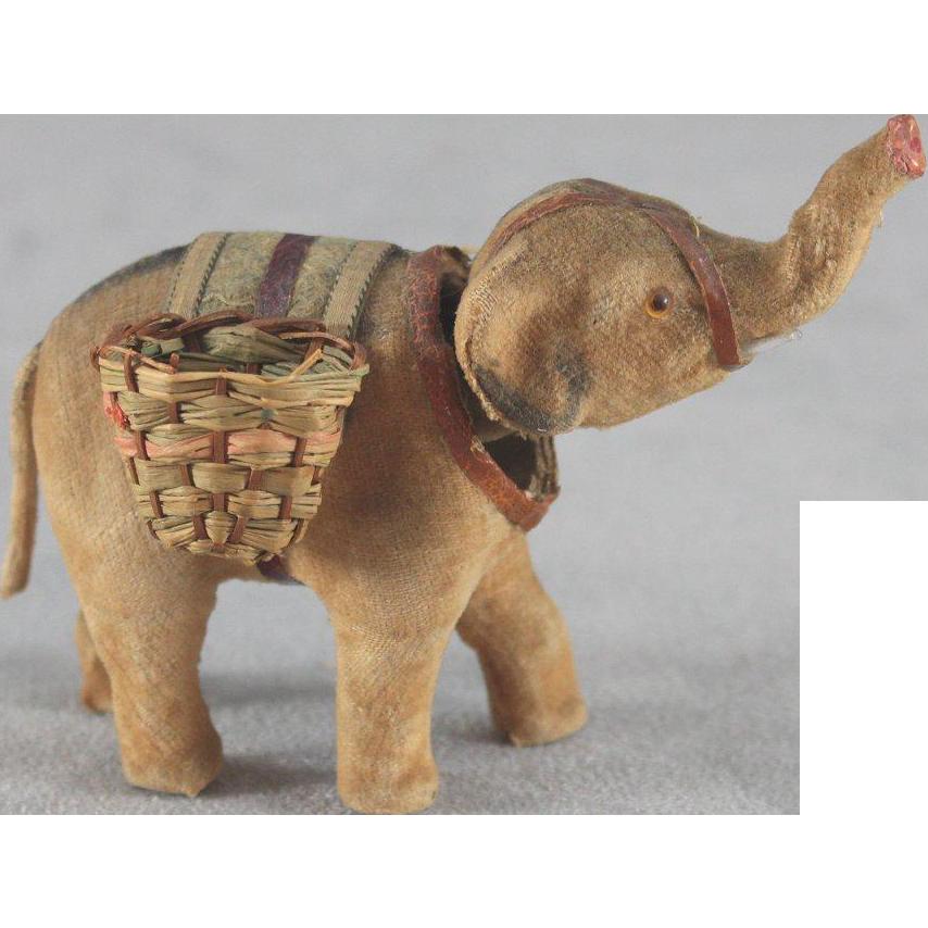 Antique Miniature Elephant Nodder All Original Blanket Harness Baskets