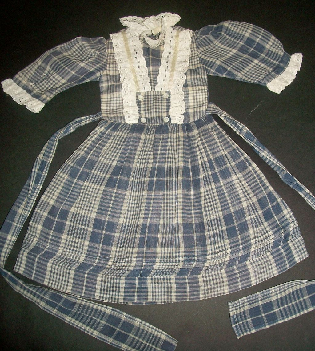 nice blue plaid cotton doll dress white eyelet trim sold. Black Bedroom Furniture Sets. Home Design Ideas