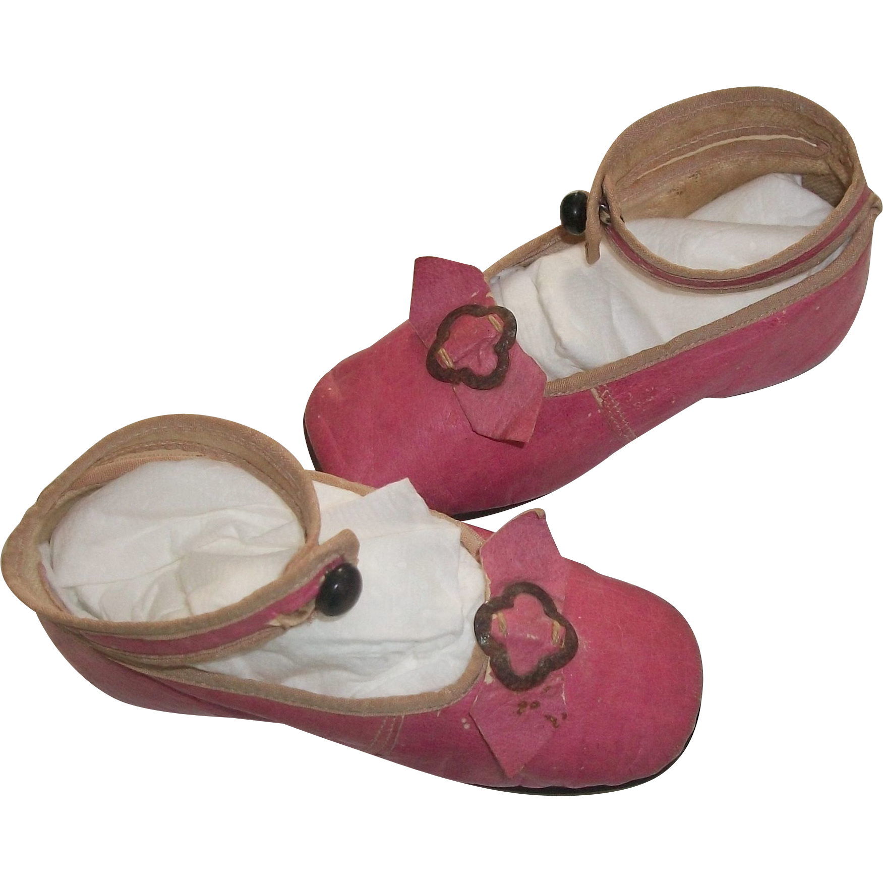 wonderful pair of child doll antique pink leather shoes