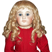 Fabulous Antique Light Blonde Mohair Doll Wig, French or German Bebe