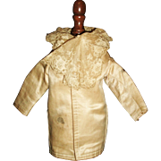 Lovely Antique Silk French Fashion Doll Coat, Fabulous Lace
