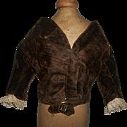 Lovely Antique Brown Velvet Fashion Doll Jacket