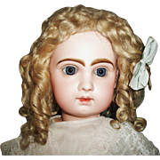 Beautiful Antique Blonde Mohair Doll Wig, French or German Bebe