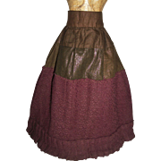 Lovely Antique Purple Wool French Fashion Doll Skirt