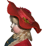 Lovely Early Red Wool Felt Fashion Doll Hat