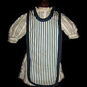 Nice Antique Black Stripe Doll Dress w Apron, China
