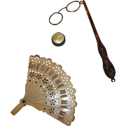 3 Wonderful Antique Pieces for your French Fashion, Fan, Lorgnette, Box