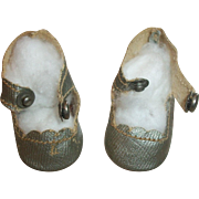 Pair of Vintage Small Silver Oil Cloth Doll Shoes