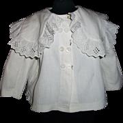 Fabulous Antique White Pique Doll Jacket