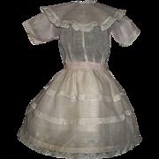 Pretty Vintage Pink Organdy Doll Dress, Kestner. Handwerck