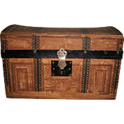 Lovely Antique Small Paper Covered Wood Doll Trunk