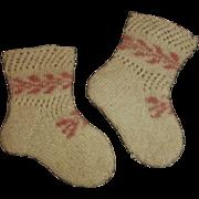 Sweet Pair of Antique Wool Doll Stockings
