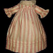 Sweet Pink Stripe Antique Doll Dress, Rag, Cloth