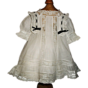 Beautiful Antique Batiste Doll Dress, French / German