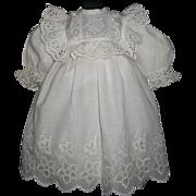 Pretty Early Vintage Doll Dress, Eyelet Cutwork. Kestner. Handwerck