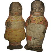 Pair of Early Black Cloth circa 1920's Aunt Jemima Advertising Dolls, Diana and Wade