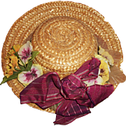 Vintage Straw Hat for a Large Doll