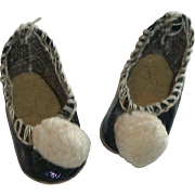 Tiny Early Black Oil Cloth Doll Shoes, Pom Poms